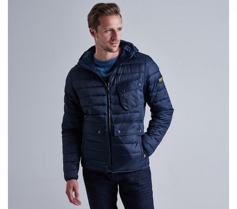 Barbour Men B.Intl Ouston Hooded Slim Quilted Jacket Navy