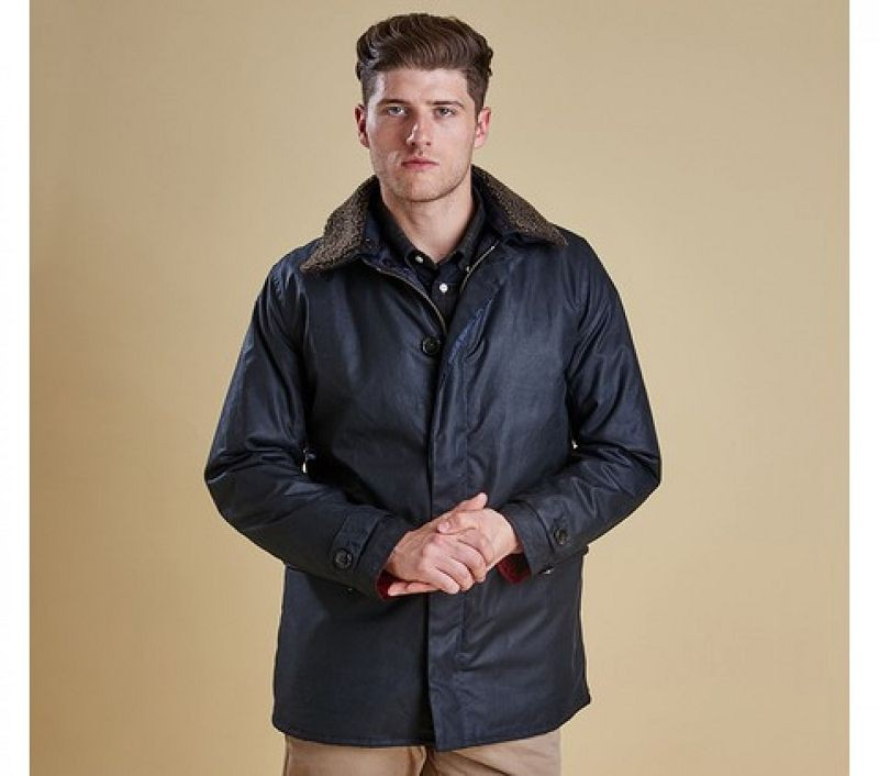 Barbour Men Arding Wax Jacket Navy
