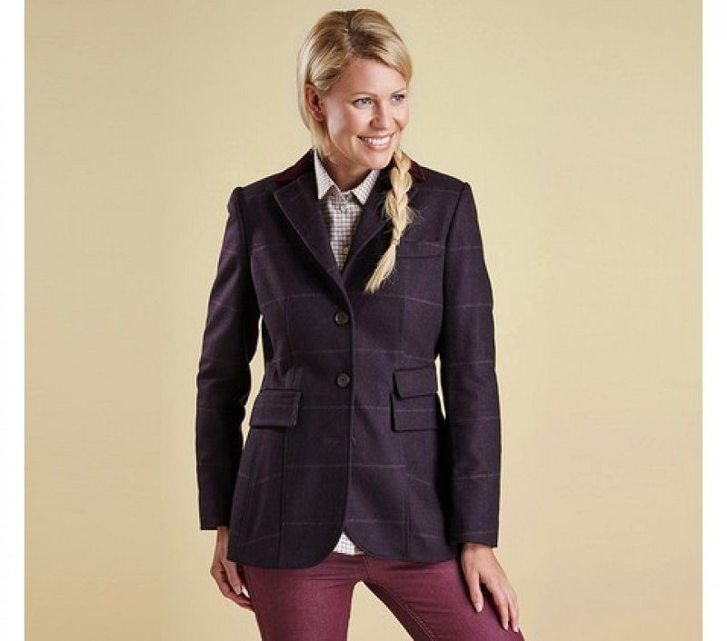 Barbour Women Badminton Tailored Jacket Berry Check