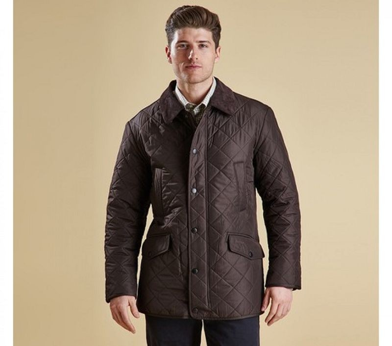 Barbour Men Bardon Quilted Jacket Dark Brown