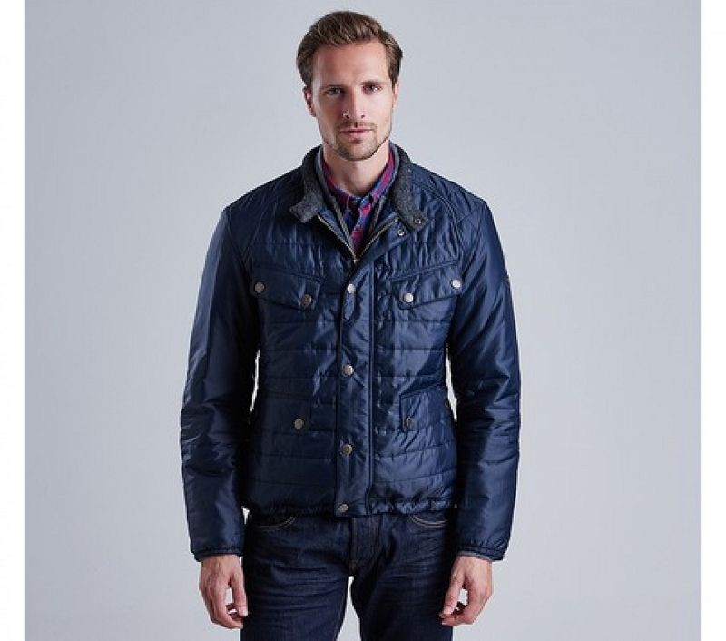 Barbour Men Caliper Tailored Fit Quilted Jacket Navy