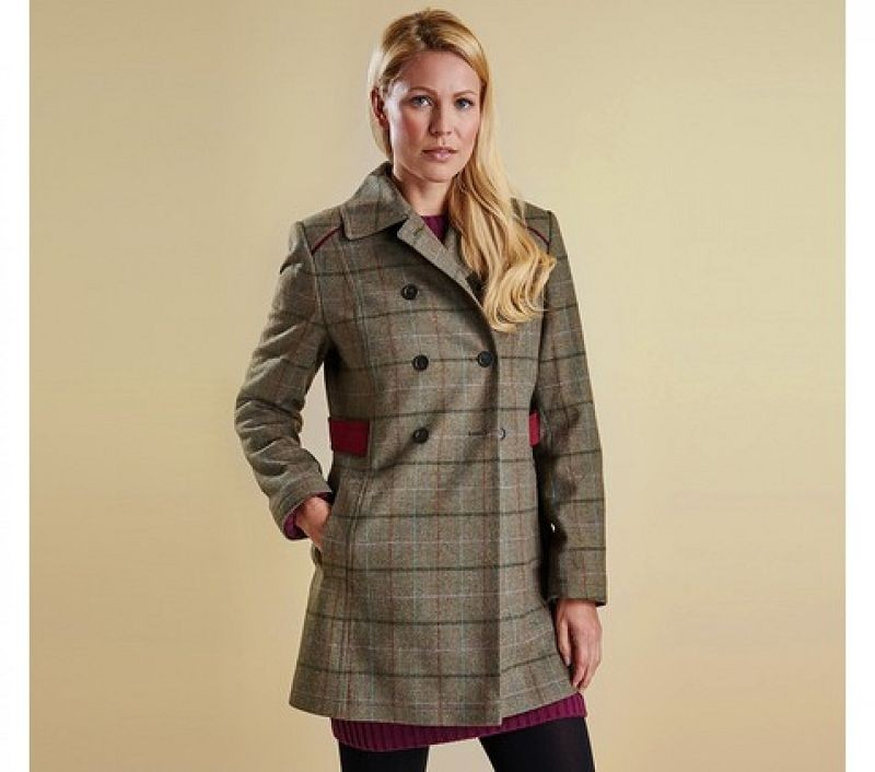 Barbour Women Carter Double Breasted Wool Coat Mid Olive