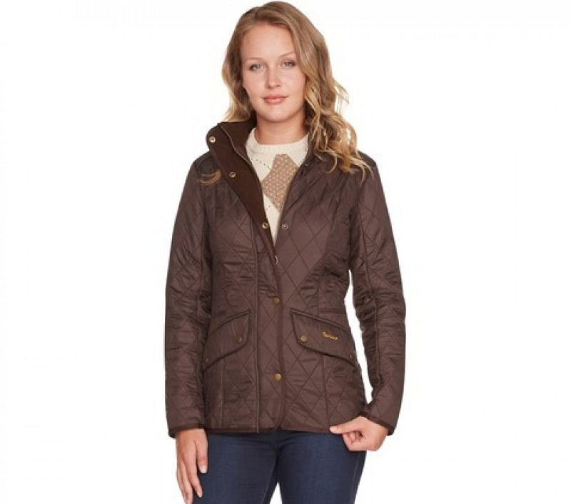 Barbour Women Cavalry Polarquilt Jacket Dk Brown