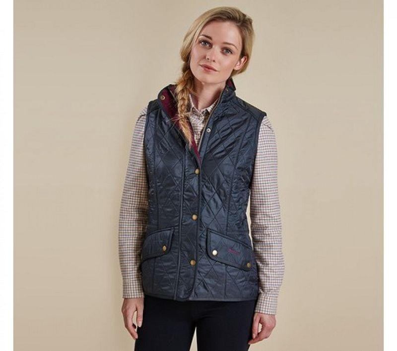Barbour Women Cavalry Quilted Gilet Navy/Red
