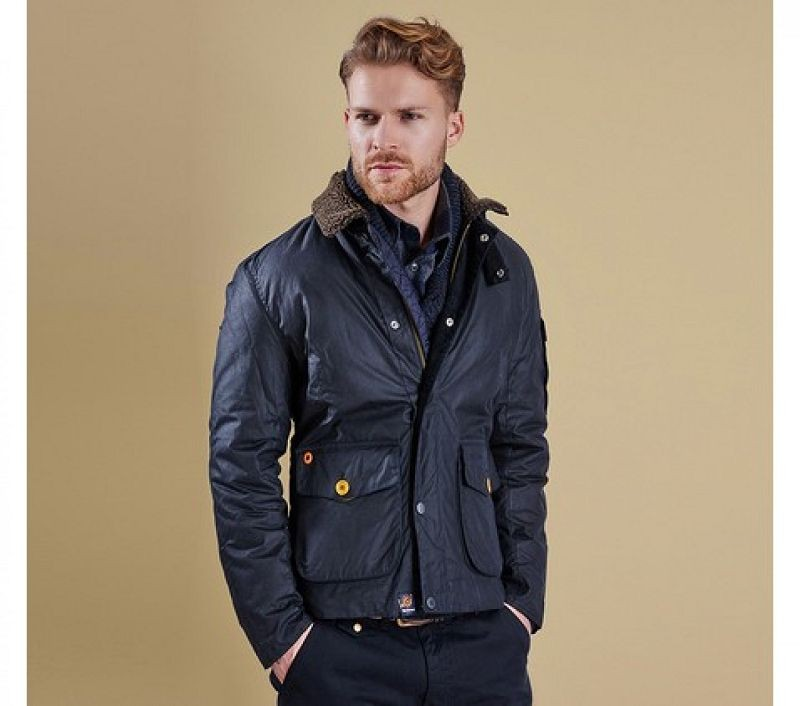Barbour Men Column Wax Jacket Navy