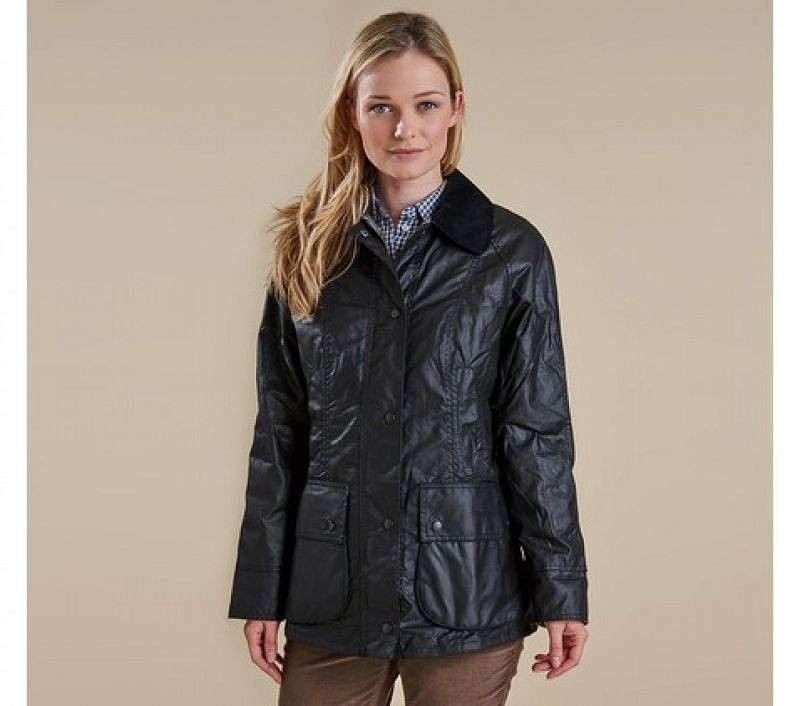 Barbour Women Beadnell Waxed Jacket Black