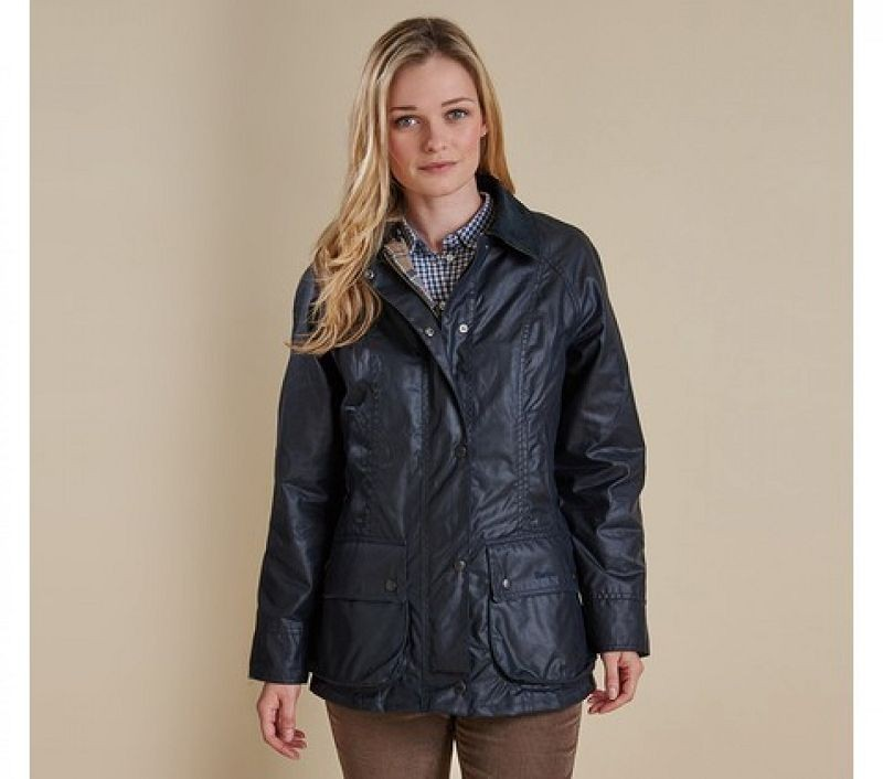 Barbour Women Beadnell Waxed Jacket Navy