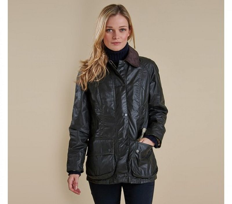 Barbour Women Beadnell Waxed Jacket Sage