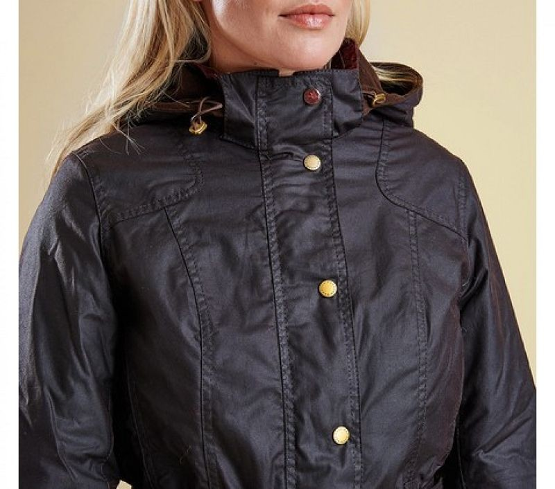Barbour Women Bower Belted Wax Jacket Rustic