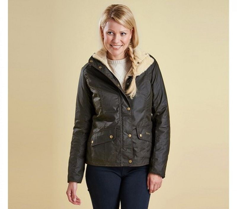 Barbour Women Brocklane Wax Jacket Olive