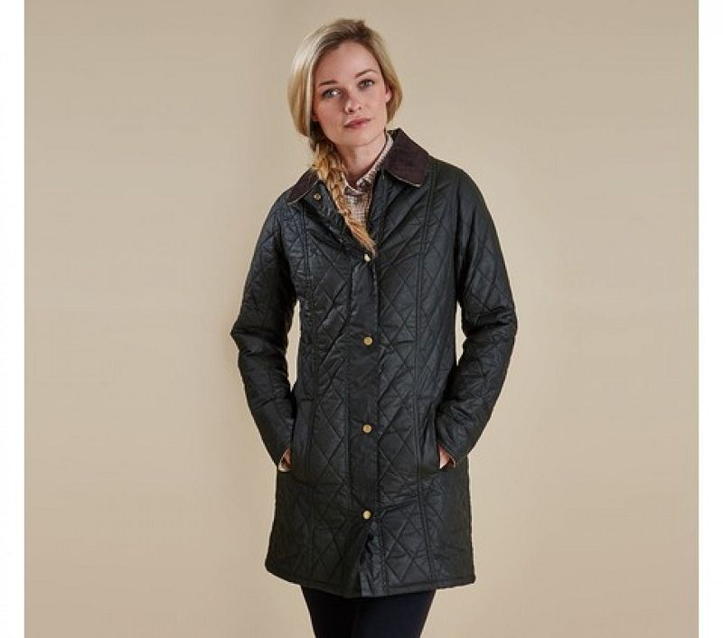 Barbour Women Equestrian Belsay Waxed Jacket Olive