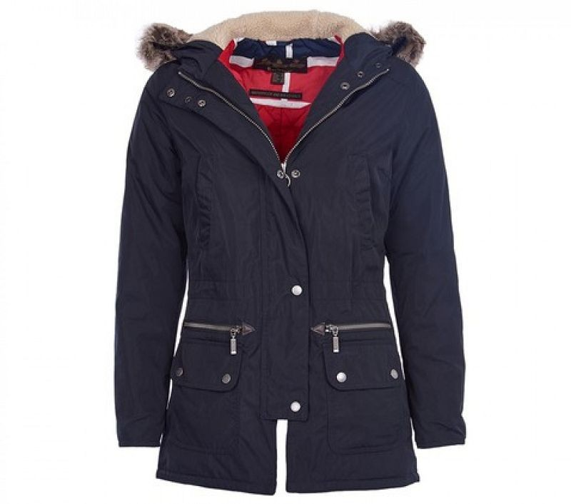 Barbour Women Deck Coat Navy/Chilli Red