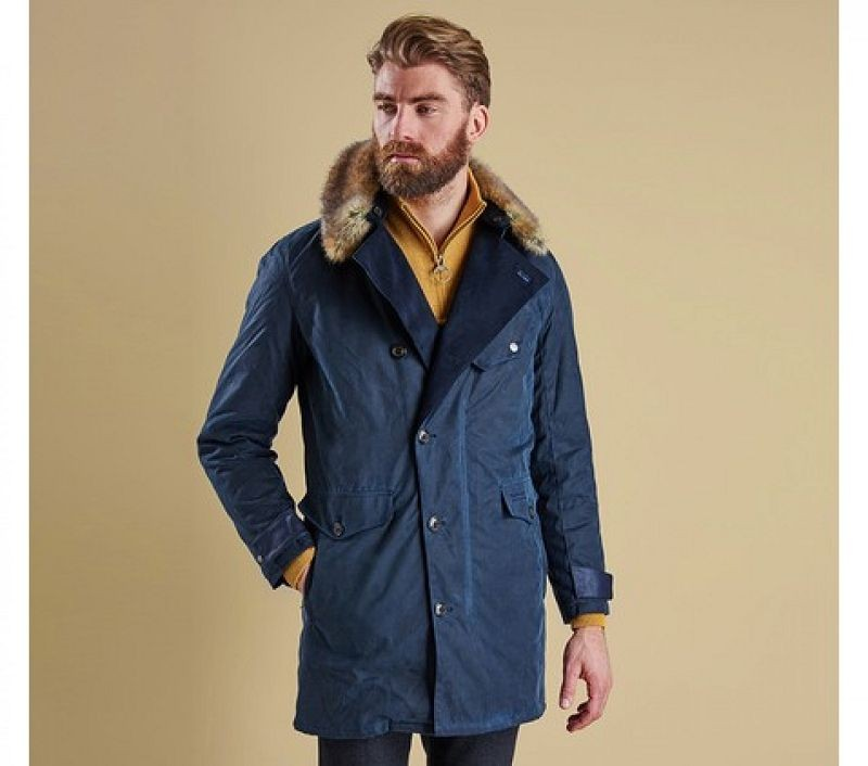 Barbour Men Driving Coat Navy