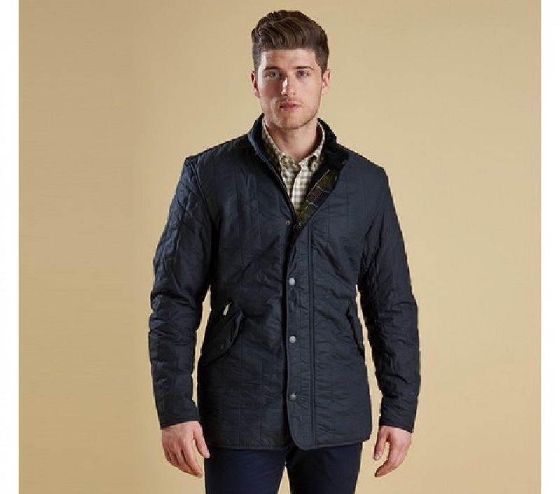 Barbour Men Edderton Waxed Jacket Navy