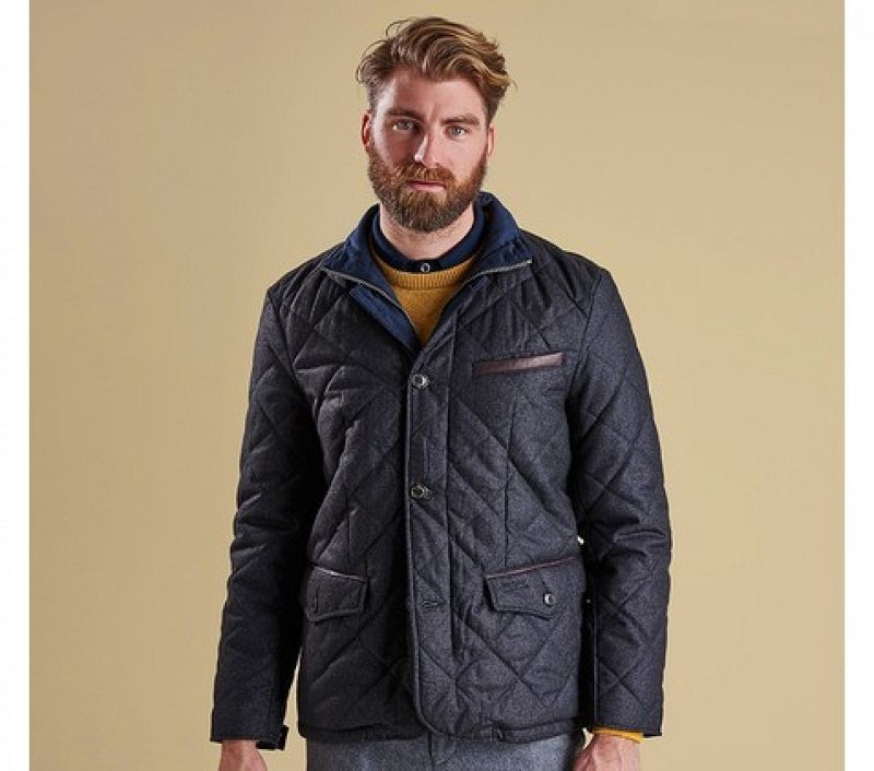 Barbour Men Filey Quilted Jacket Dark Charcoal
