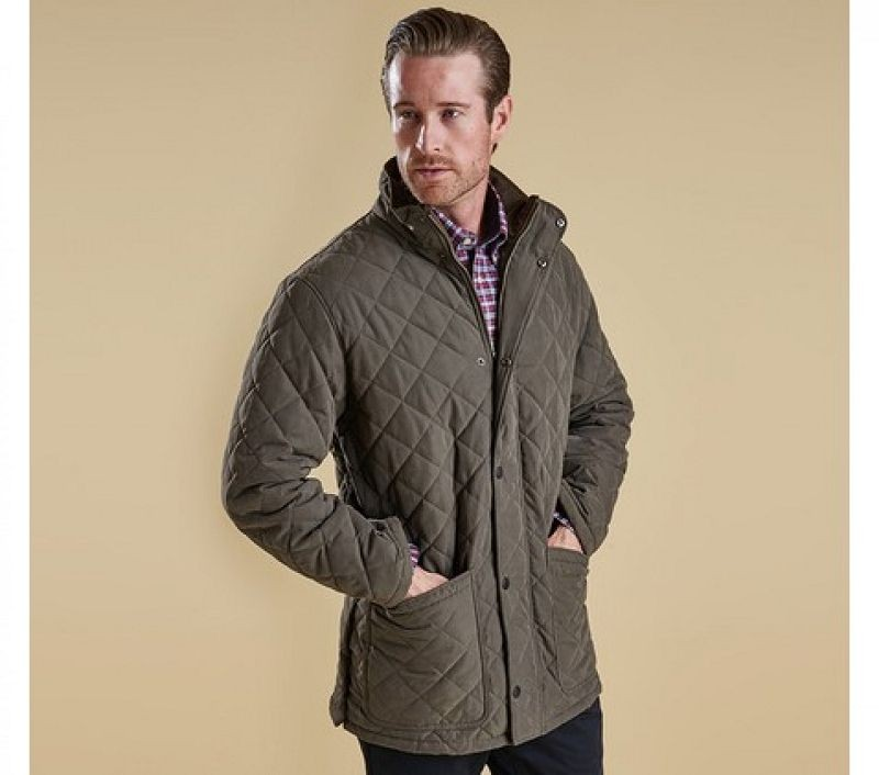 Barbour Men Hampton Quilted Jacket Forest Green