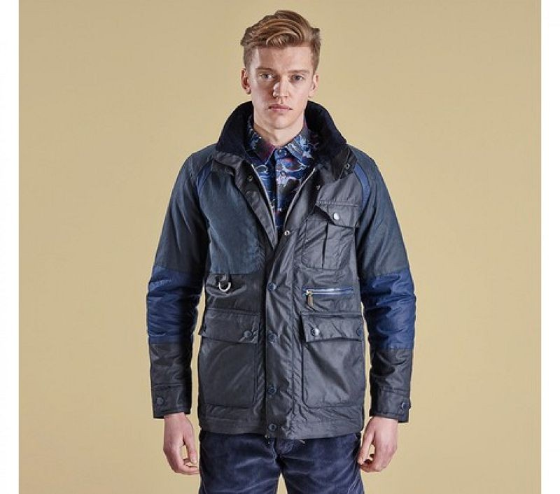 Barbour Men Cragmoto Wax Jacket Navy