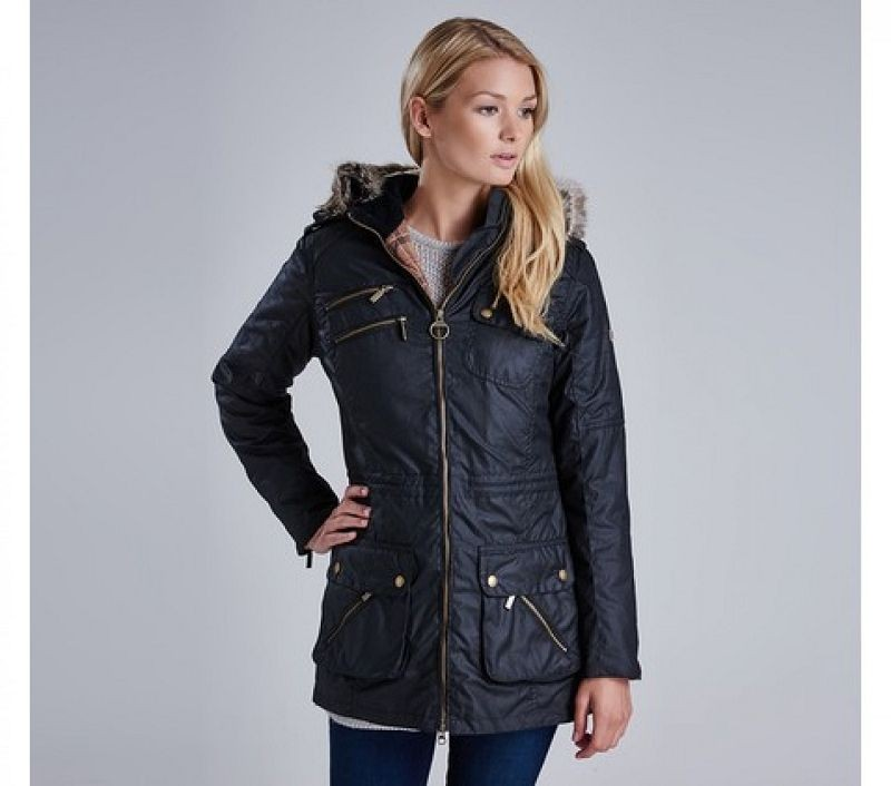 Barbour Women Bearing Wax Jacket Black