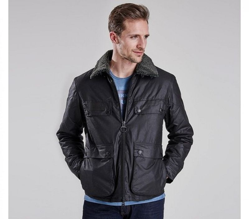 Barbour Men Binder Slim Fit Wax Jacket Black