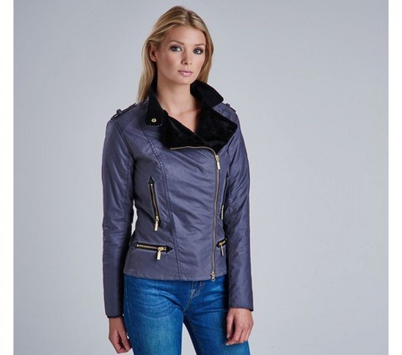 Barbour Women Chicara Asymmetric Wax Jacket Dark Pewter