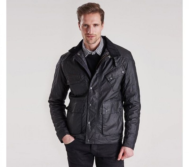 Barbour Men Crank Slim Fit Wax Jacket Black
