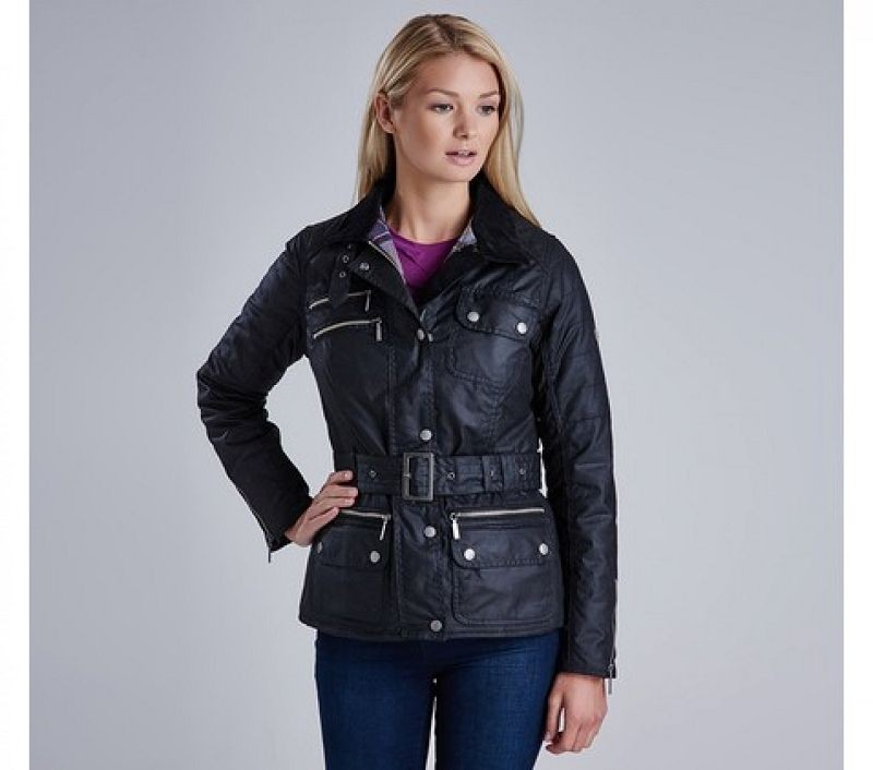 Barbour Women Fireblade Belted Wax Jacket Black