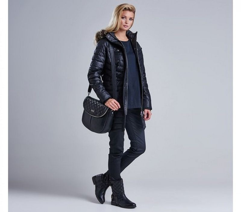 Barbour Women Hownsgill Quilted Parka Jacket Black