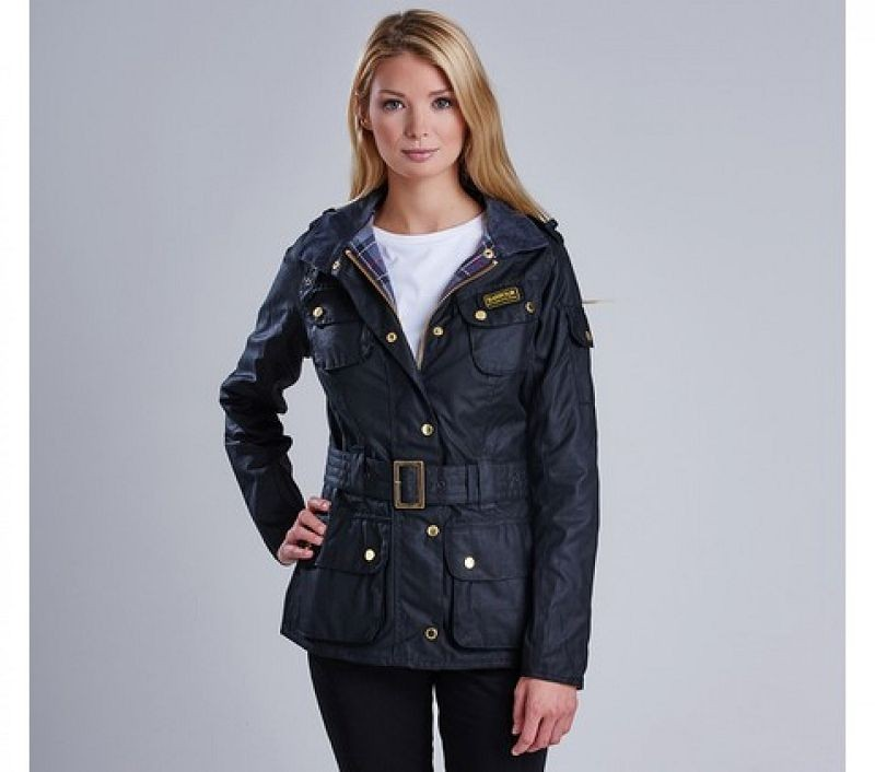Barbour Women Ladies International Waxed Jacket Black