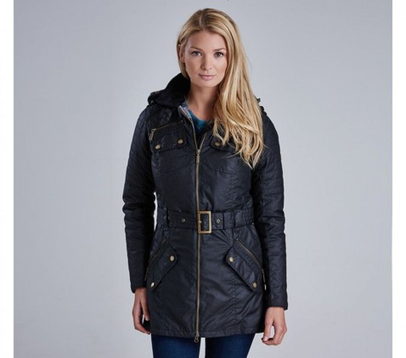 Barbour Women Rectifier Belted Wax Jacket Black