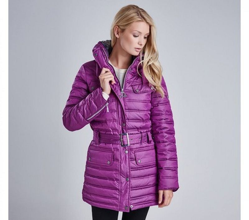 Barbour Women Reflector Baffle Quilted Jacket Bitterberry