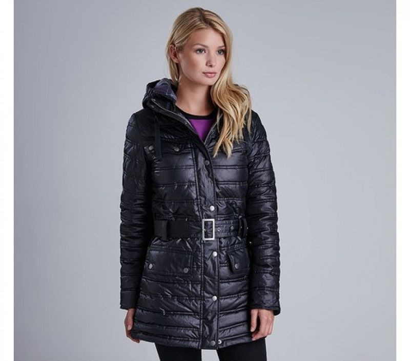 Barbour Women Reflector Baffle Quilted Jacket Black