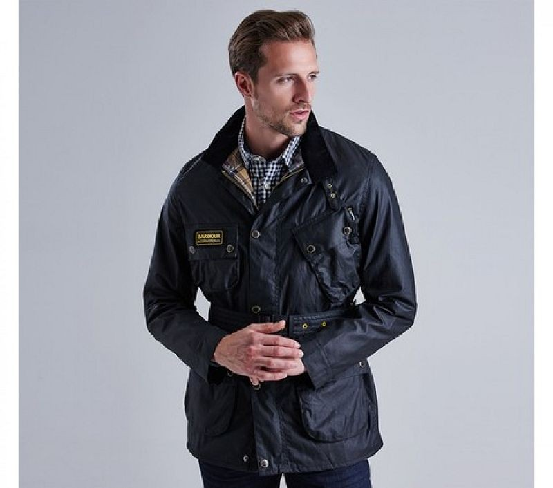 Barbour Men Slim International Wax Jacket Black