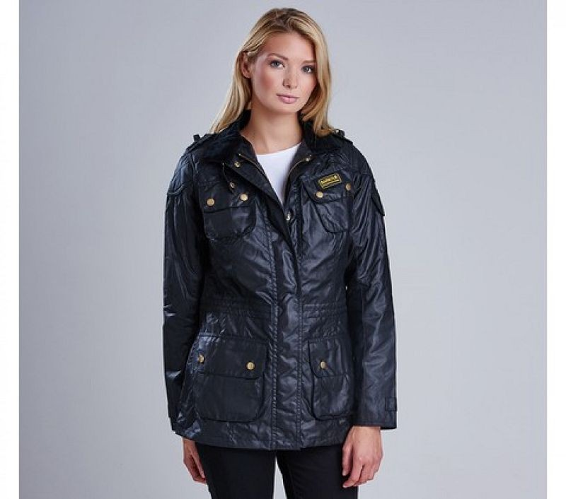 Barbour Women Speedway Waxed Jacket Black