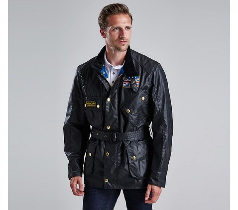 Barbour Men Union Jack Waxed Jacket Black