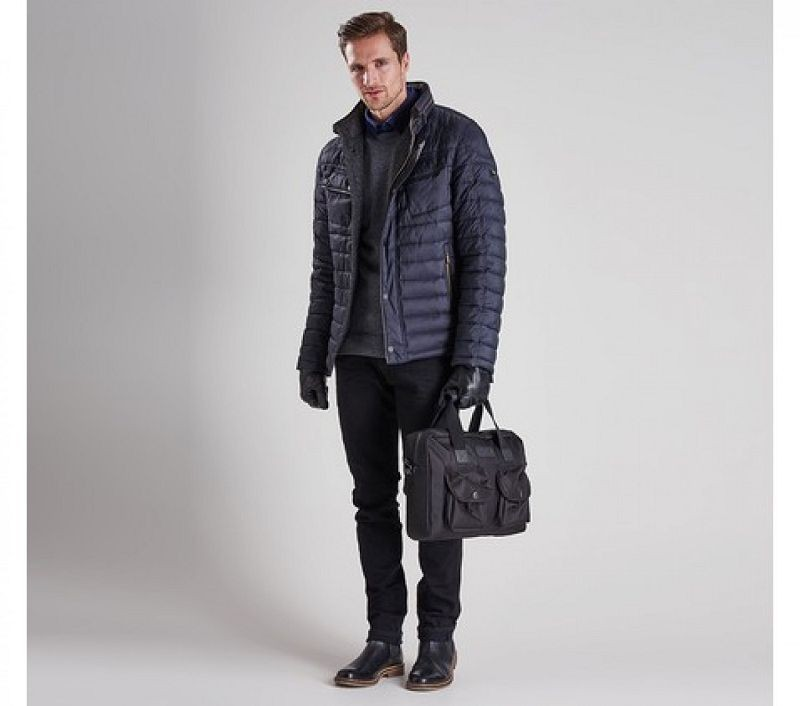 Barbour Men V-Twin Tailored Fit Quilted Jacket Black