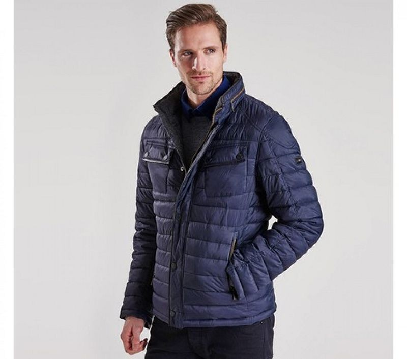 Barbour Men V-Twin Tailored Fit Quilted Jacket Navy