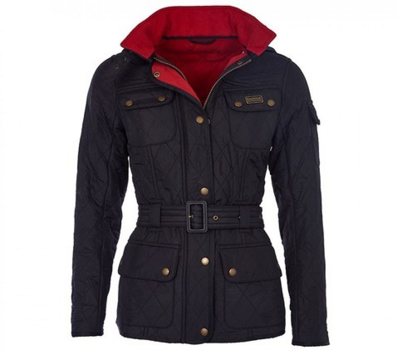 Barbour Women Viper Quilted Jacket Black/Red