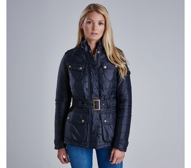 Barbour Women Worldcrosser Belted Quilted Jacket Black