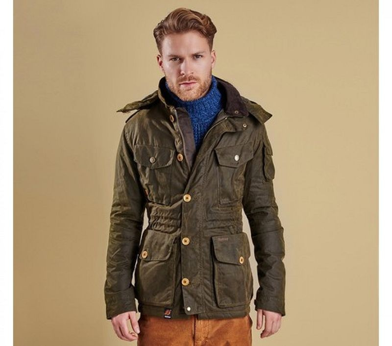 Barbour Men Latrigg Wax Jacket Olive