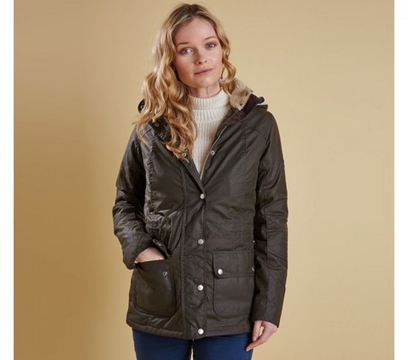 Barbour Women Apsley Wax Jacket Olive