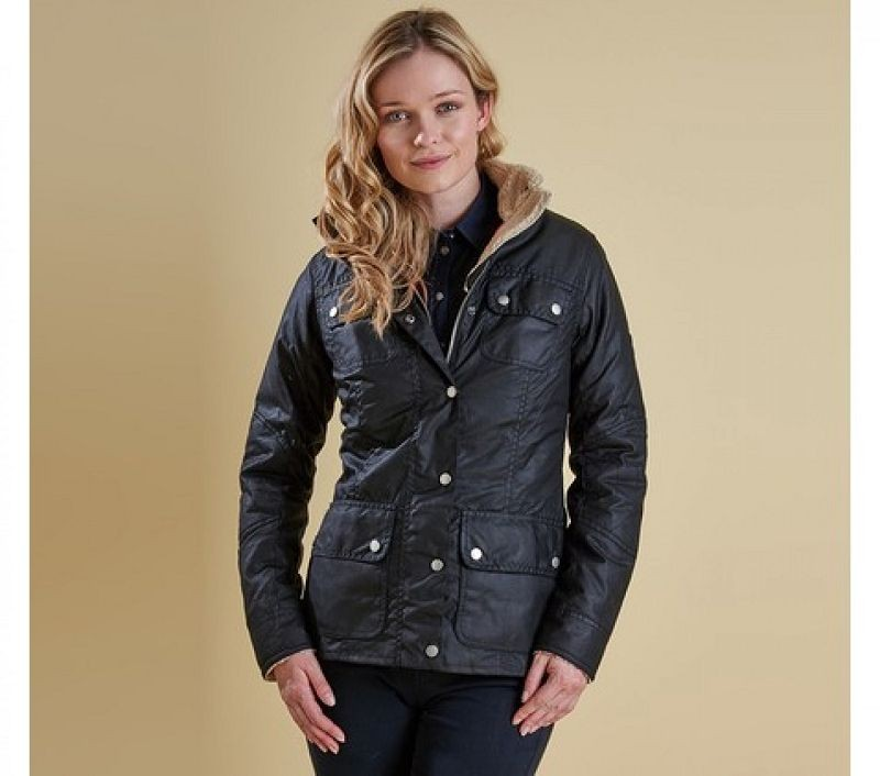 Barbour Women Bartlett Quilted Wax Jacket Navy