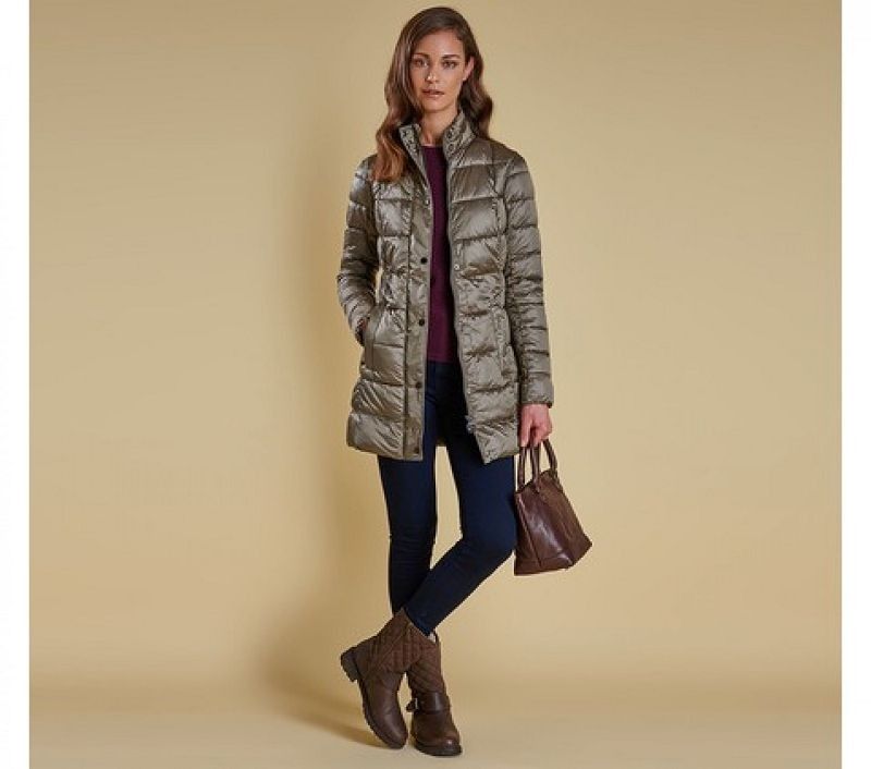 Barbour Women Clyde Long Quilted Jacket Mink