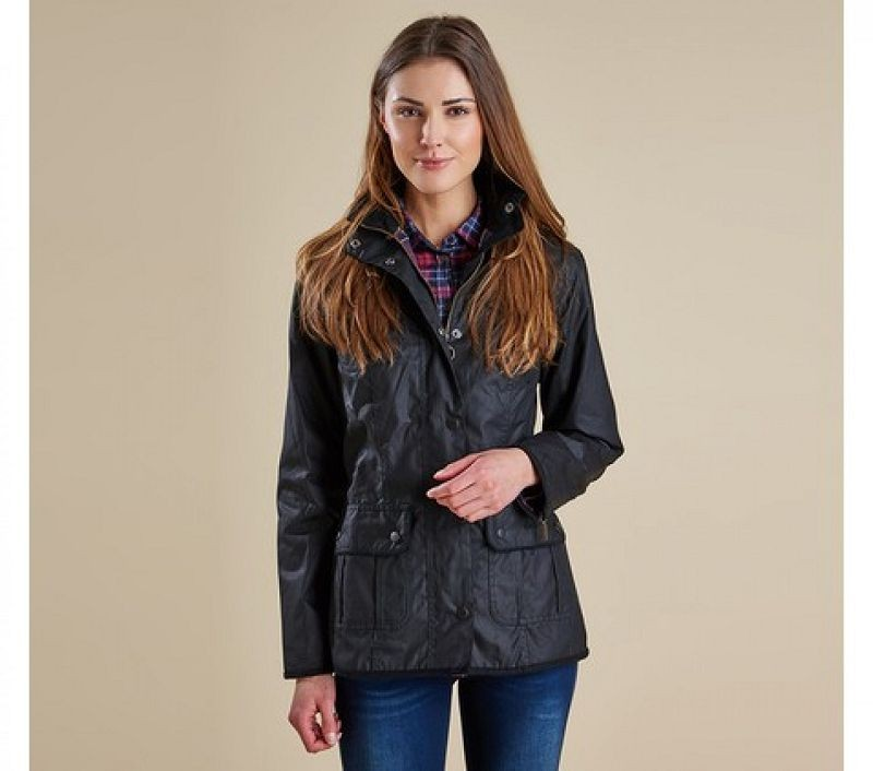 Barbour Women Ladies Utility Waxed Jacket Black