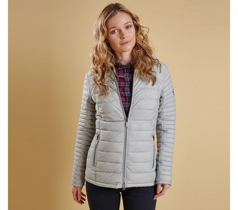 Barbour Women Landry Baffle Quilted Jacket Silver Ice/Navy