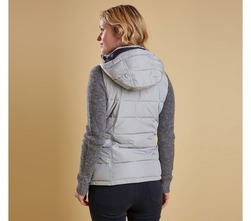 Barbour Women Landry Gilet Silver Ice/Navy