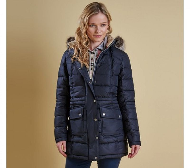 Barbour Women Landry Long Quilted Jacket Navy