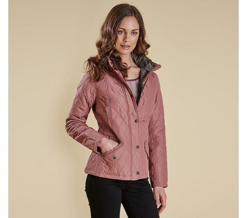 Barbour Women Millfire Quilted Jacket Old Rose