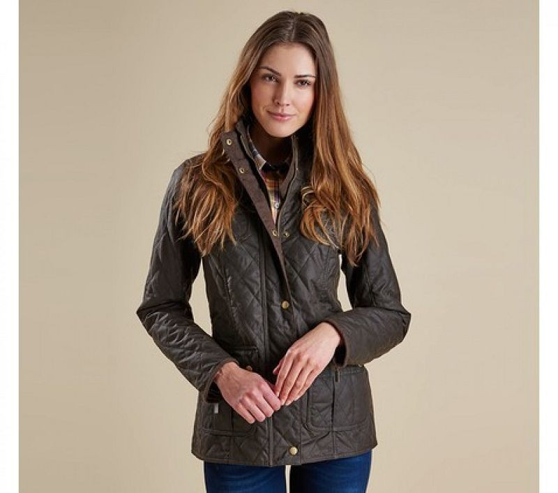 Barbour Women Quilted Utility Waxed Jacket Olive