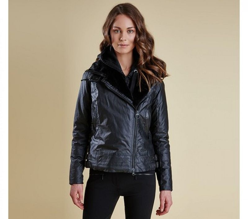 Barbour Women Ratio Aysmmetric Wax Jacket Black