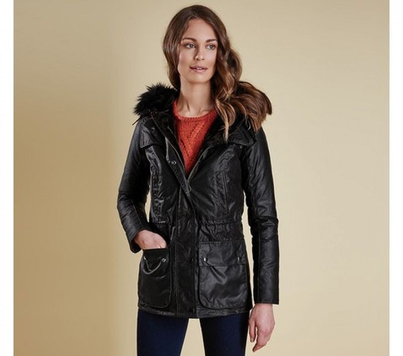 Barbour Women Ratio Hooded Wax Jacket Black